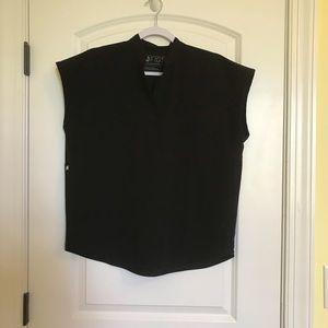 Figs women's black oversized scrubs top XS